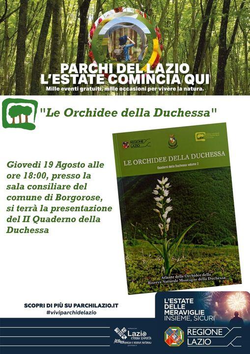 Locandina dell'evento, con in primo piano la  copertina del quaderno dedicato alle orchidacce della Riserva